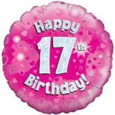 "18"" 17th Birthday Pink Holographic Foil Balloon"