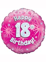 "18"" 18th Birthday Pink Holographic Foil Balloon"