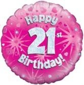 "18"" 21st Birthday Pink Holographic Foil Balloon"
