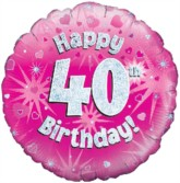 "18"" 40th Birthday Pink Holographic Foil Balloon"