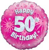 "18"" 50th Birthday Pink Holographic Foil Balloon"