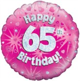 """18"""" 65th Birthday Pink Holographic Foil Balloon"""