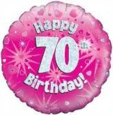 "18"" 70th Birthday Pink Holographic Foil Balloon"