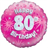 """18"""" 80th Birthday Pink Holographic Foil Balloon"""