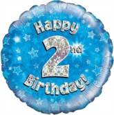 """18"""" 2nd Birthday Blue Holographic Foil Balloon"""