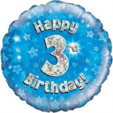 """18"""" 3rd Birthday Blue Holographic Foil Balloon"""
