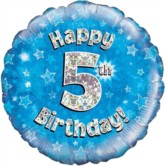 """18"""" 5th Birthday Blue Holographic Foil Balloon"""