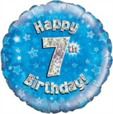 "18"" 7th Birthday Blue Holographic Foil Balloon"