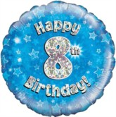 """18"""" 8th Birthday Blue Holographic Foil Balloon"""