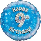 "18"" 9th Birthday Blue Holographic Foil Balloon"