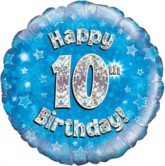 "18"" 10th Birthday Blue Holographic Foil Balloon"