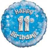 """18"""" 11th Birthday Blue Holographic Foil Balloon"""