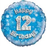 "18"" 12th Birthday Blue Holographic Foil Balloon"