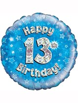 "18"" 13th Birthday Blue Holographic Foil Balloon"