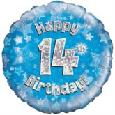 "18"" 14th Birthday Blue Holographic Foil Balloon"