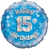 "18"" 15th Birthday Blue Holographic Foil Balloon"