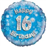 "18"" 16th Birthday Blue Holographic Foil Balloon"
