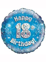 "18"" 18th Birthday Blue Holographic Foil Balloon"