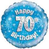 "18"" 70th Birthday Blue Holographic Foil Balloon"