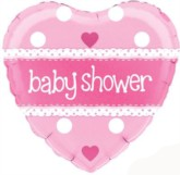 Pink Heart Shaped Baby Shower Foil Balloon 18""