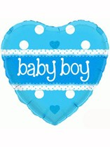 "18"" Holographic Heart Baby Boy Foil Balloon"
