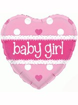 "18"" Holographic Heart Baby Girl Foil Balloon"