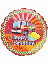"Happy Birthday Fire Engine 18"" Foil Balloon"
