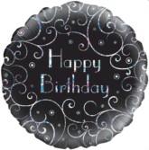 "18"" Happy Birthday Black Sparkle Holographic Foil Balloon"