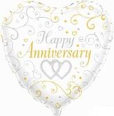 """Happy Anniversary Heart Shaped Foil Balloon 18"""""""