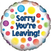 "18"" Sorry You're Leaving Dotty Foil Balloon"