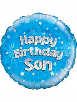 "18"" Happy Birthday Son Holographic Foil Balloon"