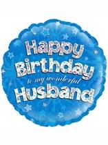 "18"" Happy Birthday Husband Holographic Foil Balloon"