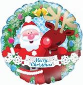 """Christmas Santa & Rudolph 18"""" Foil Balloon"""