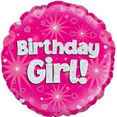 "Birthday Girl Pink Holographic 18"" Foil Balloon"