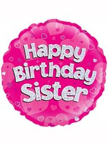 "18"" Happy Birthday Sister Holographic Foil Balloon"