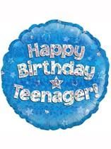 "Happy Birthday Teenager Blue 18"" Foil Balloon"