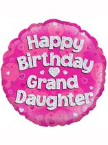 "18"" Happy Birthday Granddaughter Holographic Foil Balloon"
