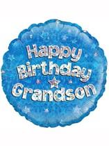 "18"" Happy Birthday Grandson Holographic Foil Balloon"