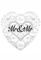"Heart Shaped Mr & Mr 18"" Foil Balloon"
