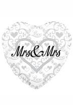 "Heart Shaped Mrs & Mrs 18"" Foil Balloon"
