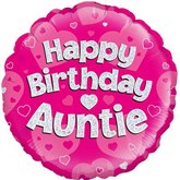 "Happy Birthday Auntie Pink 18"" Holographic Foil"