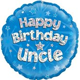 "Happy Birthday Uncle Blue Holographic 18"" Foil Balloon"