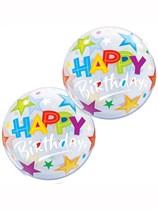 """Happy Birthday Stars 12"""" Air Fill Bubble Balloons 10pk"""