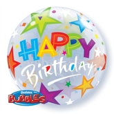 Happy Birthday Stars Bubble Balloon 22""