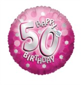 "18"" 50th Birthday Pink Sparkle Holographic Foil Balloon with Ribbon"