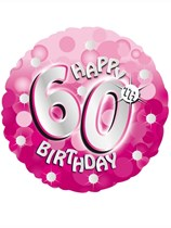 "18"" 60th Birthday Pink Sparkle Holographic Foil Balloon with Ribbon"