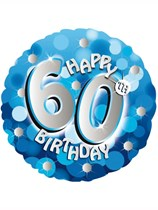 "18"" 60th Birthday Blue Sparkle Holographic Foil Balloon"