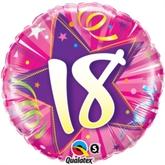 18th Birthday Shining Star Hot Pink Foil Balloon