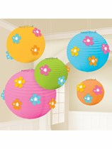 Luau Paper Lantern Decorations 5pk