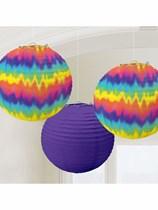 Groovy 60s Tie Dye Lantern Decorations 3pk